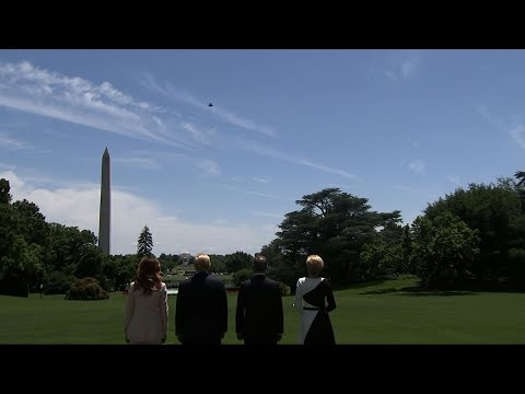 President Donald Trump and Polish President Andrzej Duda watched an F-35 fighter jet fly over the White House grounds Wednesday. The flyover was planned as Poland considers buying more than 30 F-35 Joint Strike Fighter jets. (June 12)