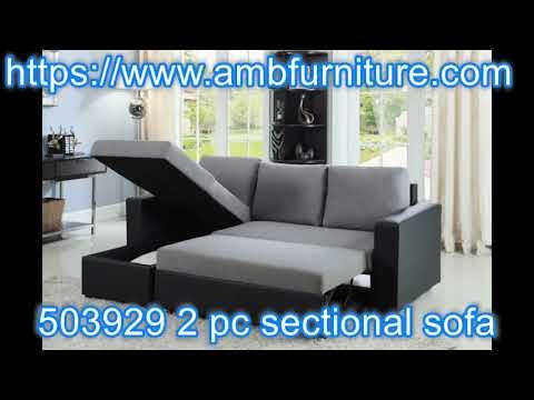 503929 2 pc Everly grey fabric / black vinyl sleeper sectional sofa reversible chaise
