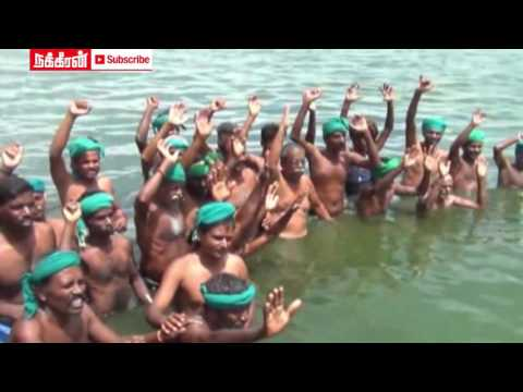 Trichy-Farmers-protest-in-Cauvery-river-sewage