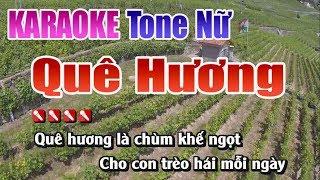 Quê Hương Karaoke   Tone Nữ   Nhạc Sống Thanh Ngân