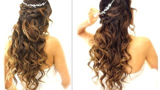 ★ EASY Wedding Half-Updo HAIRSTYLE with CURLS   Bridal Hairstyles for Long Medium Hair
