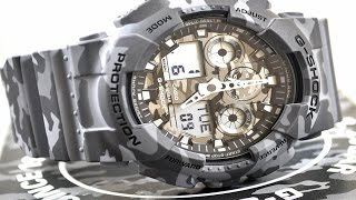 Casio GSHOCK Camo GA100CM-8A REVIEW | How To Set Time | LIGHT DISPLAY