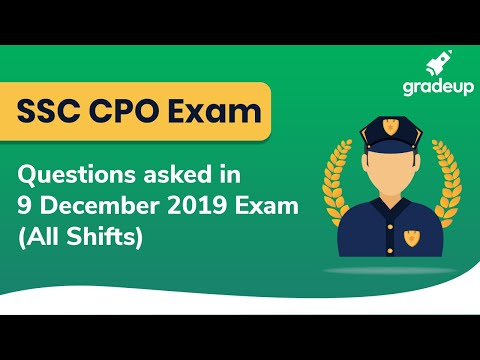 🔴 Questions Asked in SSC CPO Exam (All Shifts) | Memory Based Question Paper (9 December 2019)