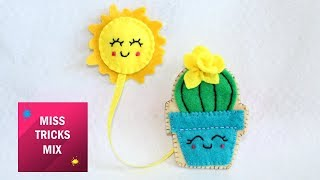 Easy Cactus Felt Bookmark DIY Tutorial | Felt Crafts.