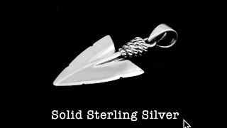 SP-091 Solid 925 Sterling Silver INDIAN ARROWHEAD Pendant Choker Men Necklace