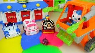 Slime vs Robocar Poli Car toys and Octonauts tank