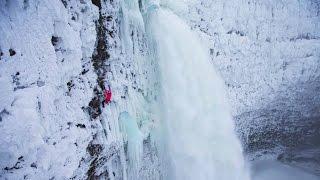 Ice Climbing Beside an Active Waterfall