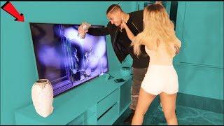 IGNORING BOYFRIEND PRANK! (GONE WRONG) BOYFRIEND BREAKS TV!!