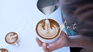 Latte Art Basic to Advanced Skills Practice Video Collection |Cappuccino|Rosetta|cafe vlog|Steaming