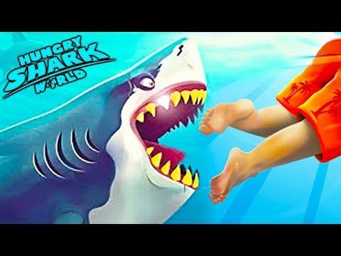 У меня Самая ГОЛОДНАЯ АКУЛА в мире Эволюция Акул прохождение hungry shark world   топ игра