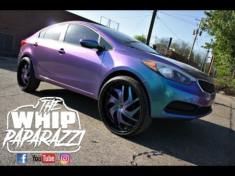 "Wrapped Kia Forte on 24"" Starr Phantom Wheels Done by Wrap Starz of Memphis"