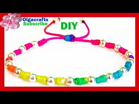 Diy Bracelets with beads with string friendship bracelets tutorial  How to make a bracelet easy