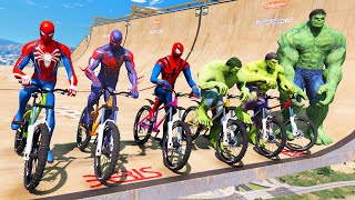 TEAM SPIDER-MAN VS TEAM HULK Super Bicycles Competition #1 (Funny Contest) - GTA V Mods