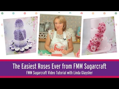 Sugar Roses made simple using The Easiest Rose Ever cutter from FMM