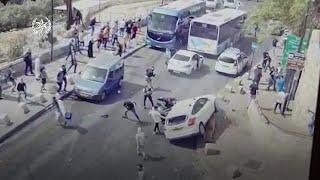 video: Watch: Israeli car hits Palestinian amid chaos of clashes at al-Aqsa mosque