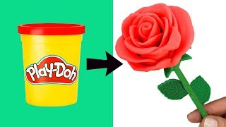 Easy DIY Play Doh Rose How to Make a Flower with Play Doh Modelling Clay Fun Creative for Kids