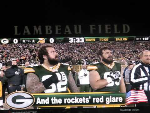 Larry Harris Sings The National Anthem At Packers-Vikings Wildcard Playoff, 1-5-13