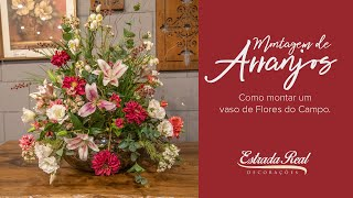 Que tal aprender a montar um belo arranjo misto de flores do campo artificial.
