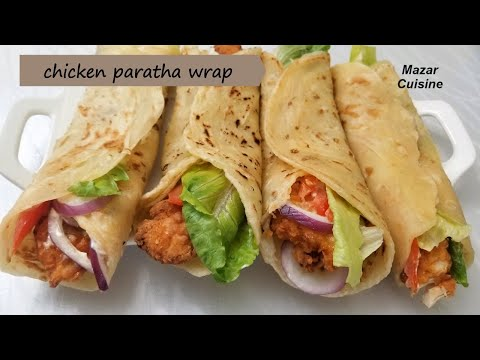 Tasty Chicken Wrap Recipe Chicken Paratha Roll Recipe,Afghani  Parata Recipe پراته با برگر مرغ