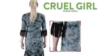 Cruel Girl Fringe Dress - 3/4 Sleeve (For Women)