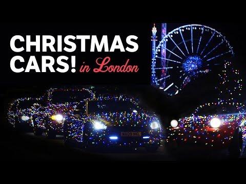 Сверкающие рождественские автомобили в Лондоне