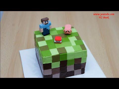 Как задекорировать торт с виде кубика в стиле Майнкрафт
