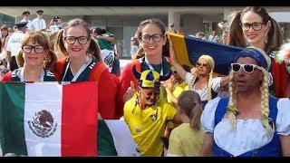 Sweden - Mexico fans. Ekaterinburg 27.06.2018. Russia World Cup 2018