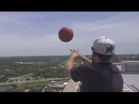 Dude Perfect Breaks World Record for Tallest Basketball Shot from Roof Of Building