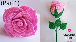 How To Make Crochet Amigurumi Rose Flower( Part1) Tutorial English Free Pattern For Beginners