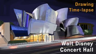 [4K] Frank Gehry - Walt Disney Concert Hall - Architectural Drawing On IPad