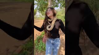 😮OMG cobra🐉 ke sath hi lipat gai, cut girl with snake🐉vstatus, status video, full hd, 2021