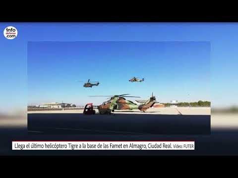 Llega el último helicóptero Tigre a la base de las Famet en Almagro, Ciudad Real