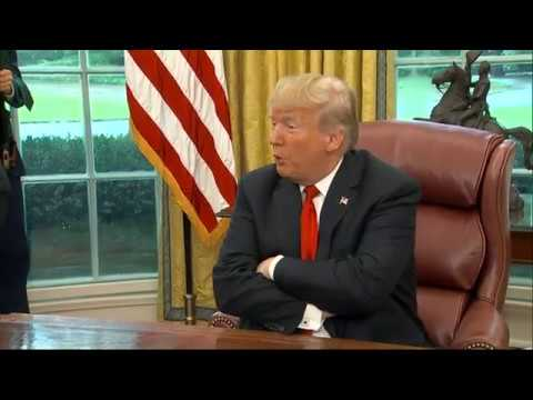 "President Donald Trump says he's ""open-minded"" about stop-and-frisk policing. He made the comment as he met with rapper and producer Kanye West at the White House. (Oct. 11)"