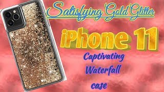 Satisfying Gold Glitter iPhone 11 Captivating Waterfall  Case