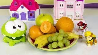 Ам Ням ест фрукты вместе с Щенячьим Патрулем. Развивающие мультики для детей. Игрушки Paw patrol