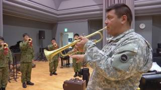 USARJ Band teaches JGSDF how to play the bugle