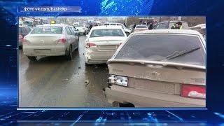Массовая авария в Уфе: столкнулись не менее 10 автомобилей