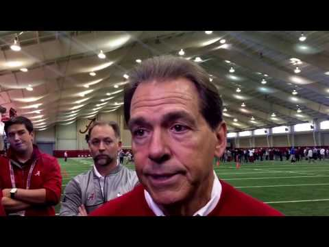 Nick Saban talks to media after Alabama's Pro Day