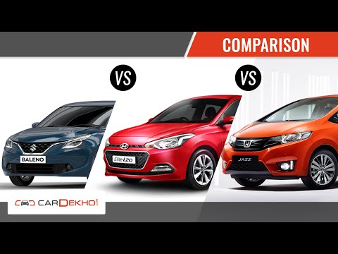 Honda Jazz  vs Maruti Baleno vs Hyundai Elite | Comparison | CarDekho.com