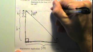 Trig Applications - Example 2 - Angle Of Depression