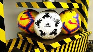 EXPERIMENT HYDRAULIC PRESS 100 TON vs 4X FOOTBALL