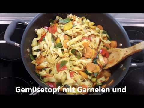 Gemüsetopf mit Garnelen und Bandnudeln, mit Pampered Chef®
