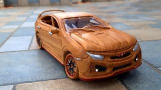 Wood Carving - Honda Civic Type R 2020 ( Video 4k )  Woodworking Art DIY