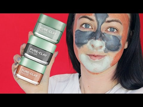 L'Oreal Pure-Clay Face Masks | Review + Demo | Drugstore Mask