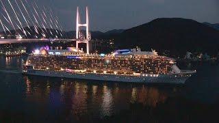 大迫力!世界最大級の客船「クワンタム・オブ・ザ・シーズ」長崎港入出港