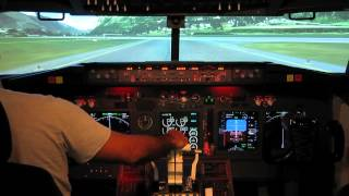 737-800 home made cockpit   take off from Innsbruck