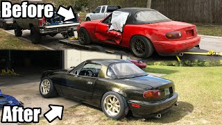 LS Swapped Miata Build Documentary. Resurrection From Start To Finish! *Turbo Beater to V8 Beauty!*