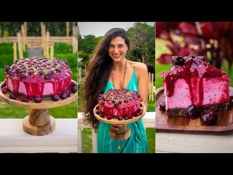 BEST VEGAN DESSERT 🍒 Cherry Dragonfruit Cheesecake 🎂  Easy No-Bake FullyRaw Recipe