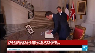 Manchester Terror Attack: President Macron signs book of condolences at UK Embassy