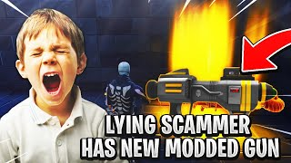 Lying Scammer Has *NEW* Modded Gun! (Scammer Gets Scammed) Fortnite Save The World